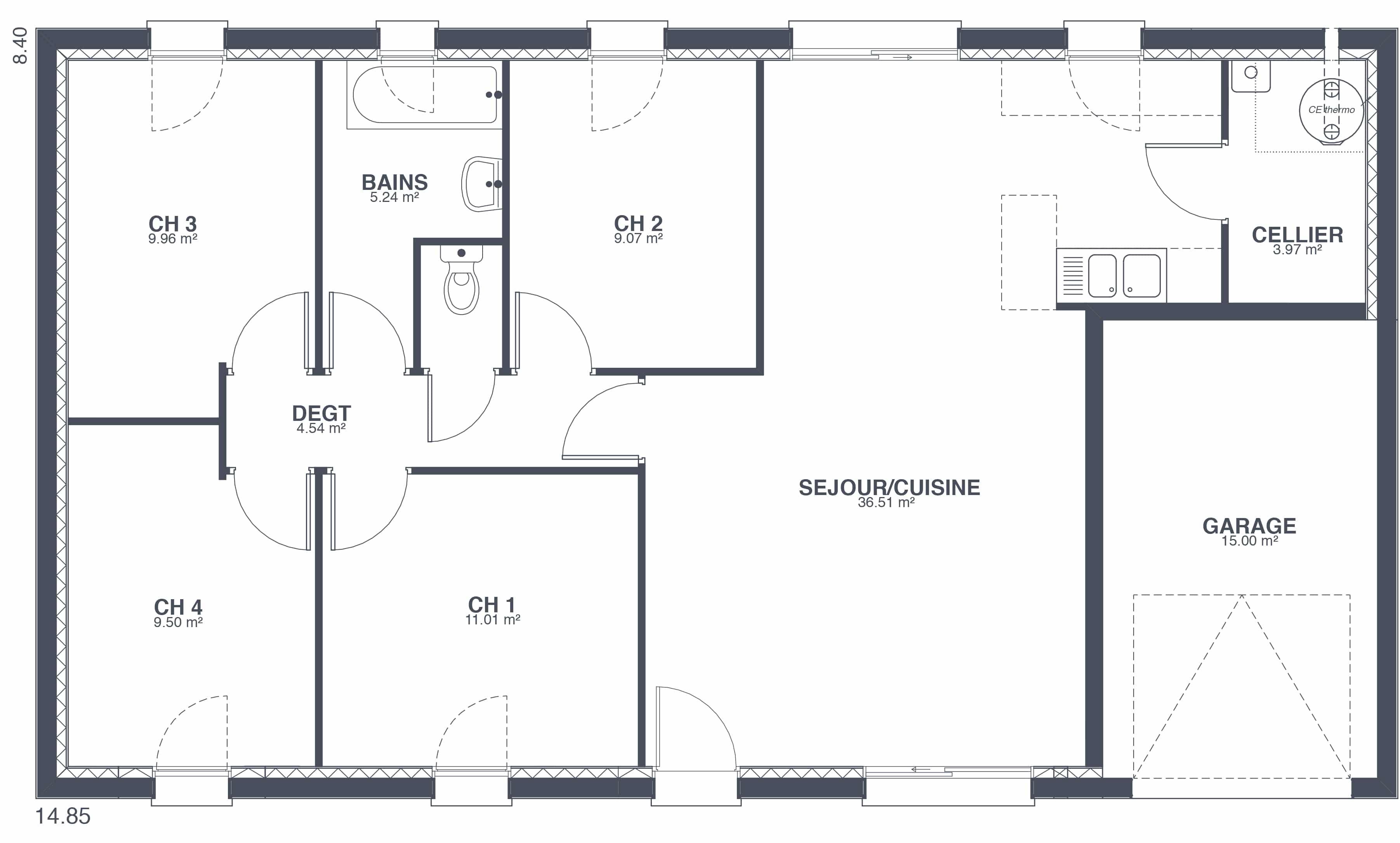 Maison focus 91m2 modele 4 chambres petit prix - Modele maison familiale ...