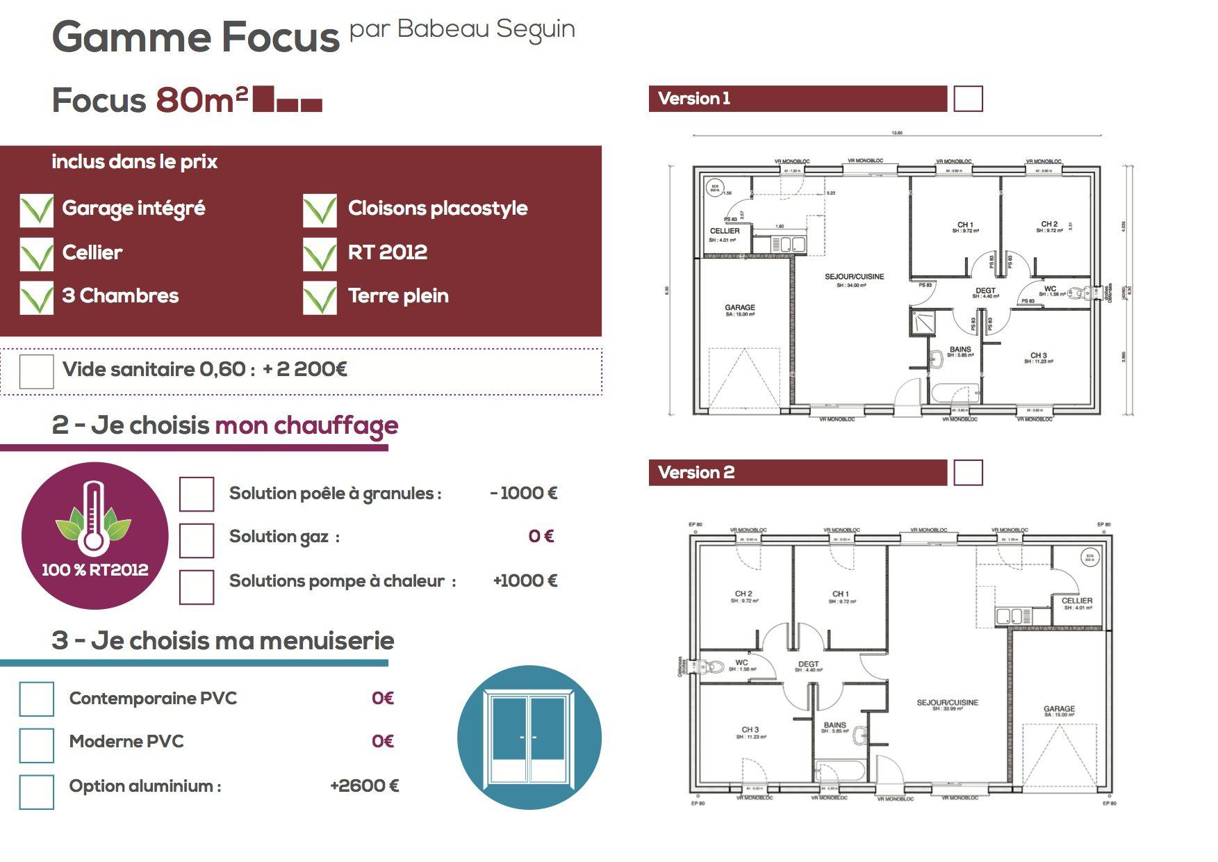 Maison focus 80 modele low cost 100 bbc rt2012 for Plan maison 80 m2 plain pied