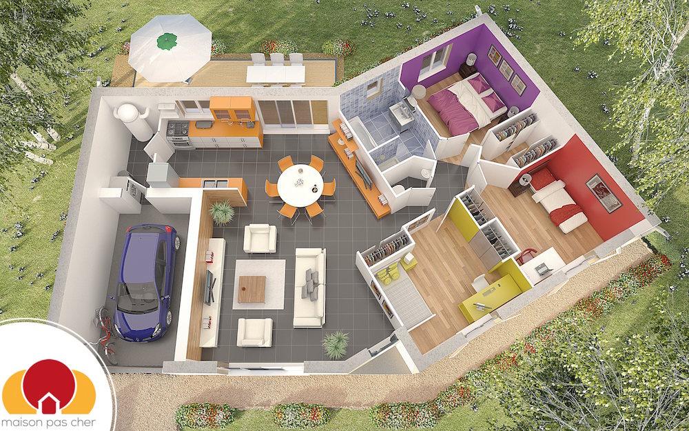 Quartz maison avec plan en v for Photo de plan de maison
