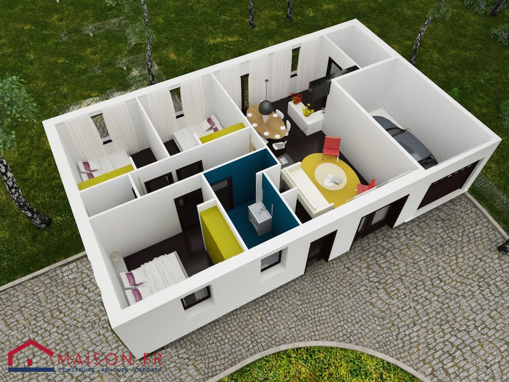 Maison focus 80 modele low cost 100 bbc rt2012 for Plan maison 80m2 3 chambres