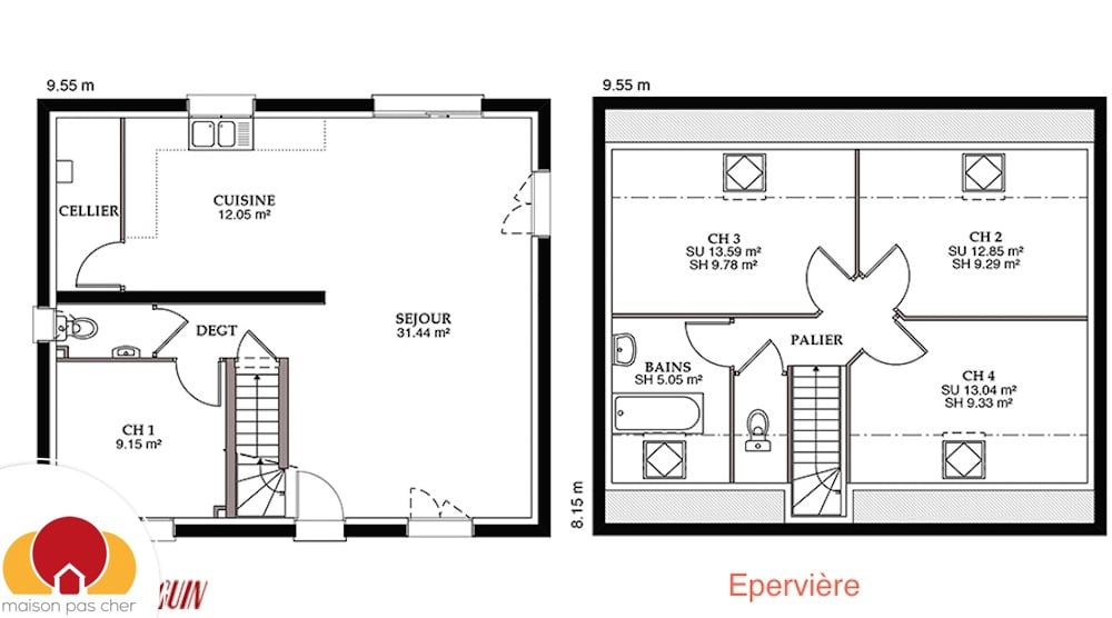 plan maison plain pied comble amenageable