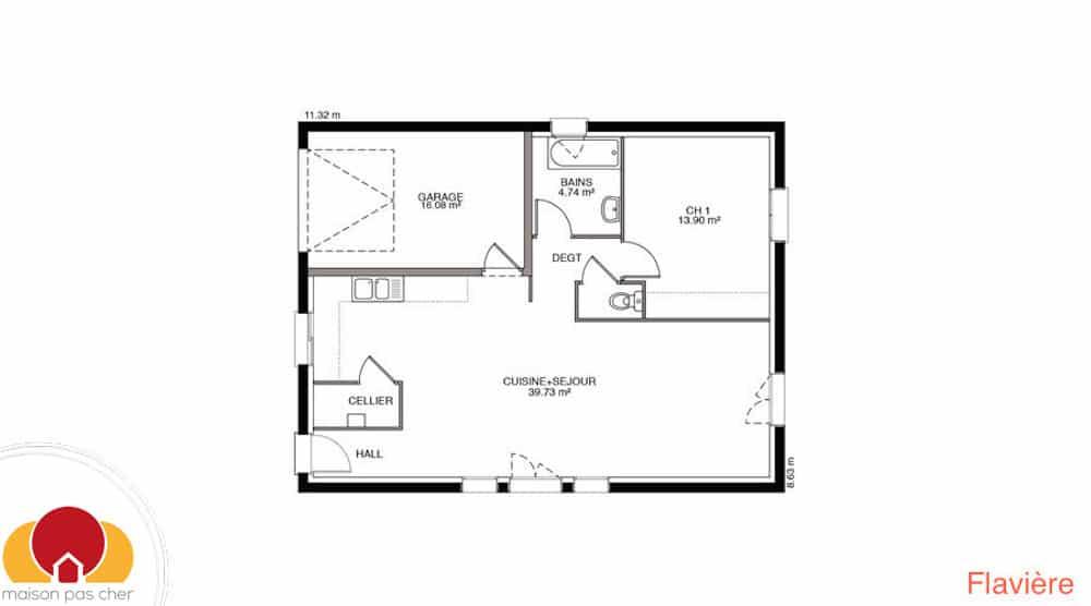 plan maison 65 m2