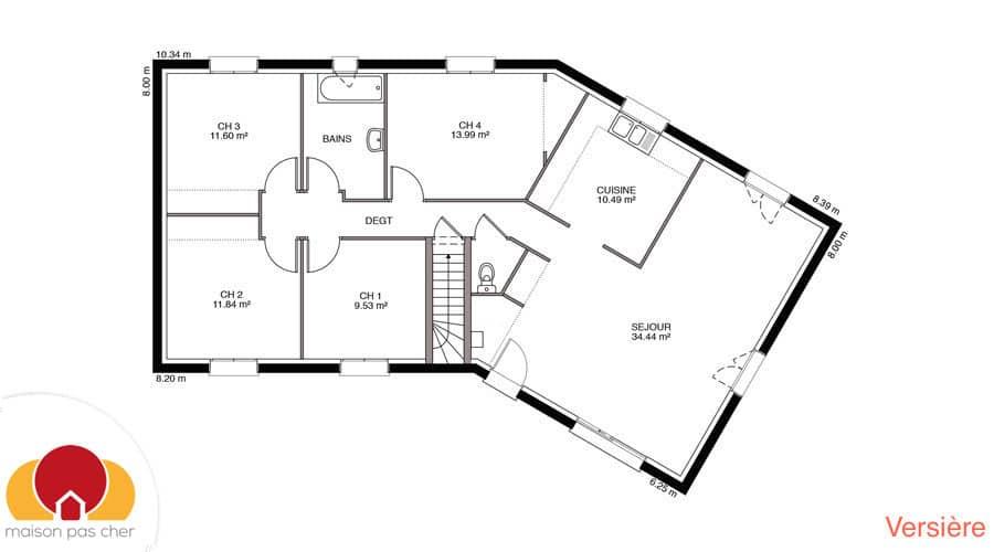 Maison en v de plain pied prix cass for Obtenir un plan de maison